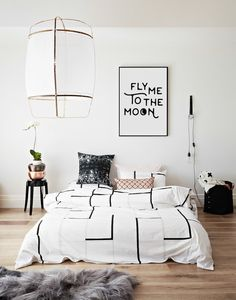 Fly Me To The Moon Print Scandinavian Art Love by PrintasticStudio