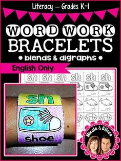 Word Work Bracelets for Blends & Digraphs (English)