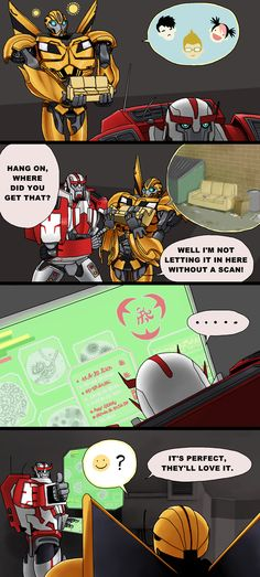 "Ratchet Is Dangerous Part Deux by just-nuts.deviantart.com on @deviantART. ""Don't trust him, Bee! He looks too happy!"" xD"