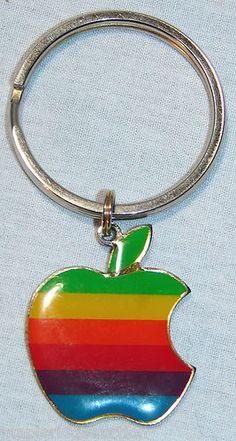 Vintage Apple Rainbow logo keychain