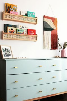 Home Interior Simple easy cane shelf DIY.Home Interior Simple easy cane shelf DIY Ikea Shelf Hack, Ikea Wall Shelves, Shelves In Kids Room, Bedroom Wall Shelves, Ikea Spice Rack Hack, Nursery Wall Shelf, Ikea Wall Decor, Ikea Hack Bathroom, Baby Shelves