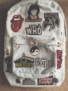 Bag: denim backpack band pink floyd the rolling stones grunge rock. Estilo Grunge, Grunge Goth, Soft Grunge, Grunge Style, 80s Punk, Denim Backpack, Backpack Bags, Grunge Backpack, Backpack With Pins