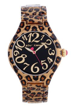 Betsey Johnson Leopard Print Expansion Band Watch