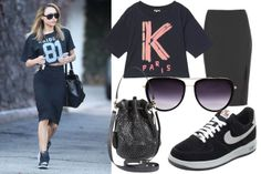 Naya Rivera in Los Angeles: jersey tee, pencil skirt, sneakers, bucket bag, acetate & metal sunglasses