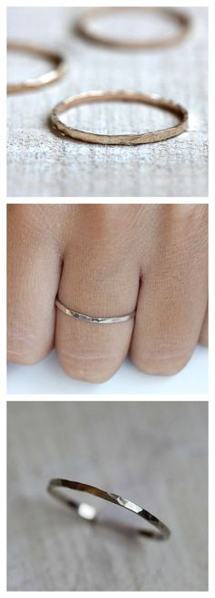 Simple hammered 14k solid gold hammered band from Praxis Jewelry. Available in 14k white and 14k yellow gold. $84.00