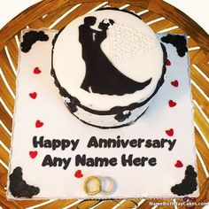 Write name on married couple dancing cake and share happy anniversary images of cake with your friends and family in a romantic way. Happy Marriage Anniversary Cake, Anniversary Cake Pictures, Anniversary Cake With Photo, Happy Wedding Anniversary Wishes, Romantic Anniversary, Anniversary Flowers, Anniversary Cards, Birthday Wishes, Wedding Cake With Name