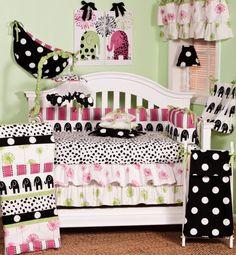 The Hottsie Dottsie 8 piece crib bedding collection by Cotton Tale Designs is cotton. This graphic, fun, contemporary nursery in white, black, pink and green is perfect for any little girl's room. Nursery Bedding Sets, Bedding Shop, Nursery Decor, Nursery Ideas, Pink Bedding, Bedroom Ideas, Black Bedding, Luxury Bedding, Black Crib