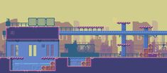 Sidescrolling pixelart game blue and purple