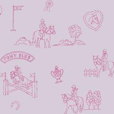 Behang, roze met paarden