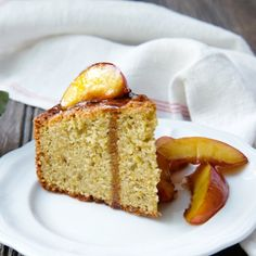 Pistachio Almond Cake with Brown Sugar Nectarines.