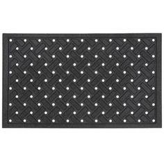 Matrix-Crossweave Black 18-Inch by 30-Inch Doormat by Townhouse Rugs. $17.99. Recycled rubber backing. Durable. Recycled rubber with heat transfer polyester flock face. Machine made doormat. Clean with vacuum or shake out occasionally rinse with garden hose air dry. Featuring an attractive lattice pattern, this door mat is a great addition to any entryway. Crafted from recycled rubber this mat is suitable for any climate. Our recycled rubber doormats have a high ...