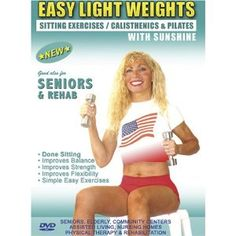 (Seniors / Elderly Sitting Lightweight / Dumbbells Exercises for Strength, Rehab & Physical Therapy. This Seniors Light weights dumbbells fitness DVD is Good also for Easy Osteoporosis Exercises, Diabetes Exercises, Arthritis Exercises, Alzheimer's Exercises DVD.Sunshine is a Certified AARP Trainer by ACE, The American Council on Exercise. (2011)) Easy senior exercise video This video is comprised of a 30 minute exercise workout using light weights. It can be done sitting and or standing and…