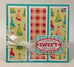 "A ""Sweet Celebration"" card using the ""Cycle Celebrations"" stamp set and ""Birthday Basics"" Designer Series Paper from Stampin' Up!  For more info visit my blog. Just click and head over there now. :-)  #diy  #birthday  #card  #crafts  #sweets  #handstamped  #gifts"