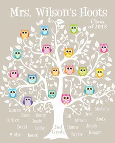 Personalized Teacher Gift - Classroom Kid's Names - Teacher Name Print - Owls on Tree- Can customize colors
