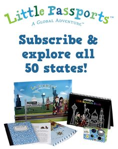Supplement your geography curriculum with a subscription to Little Passports! Learn about all 50 states with activity-packed journals.
