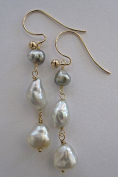 14K Solid Gold~ AAA Amazingly Beautiful Tahitian Keishi & White South Sea Keishi Pearls Earrings by rachelrosedesigns on Etsy