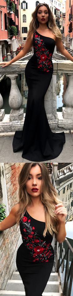One Shoulder Mermaid Black Embroidery Pretty Long Prom Dresses, Cheap Prom Dresses #Sofiebridal #promdresses #promdressshopping #embroidery #black #mermaid #prom2k18