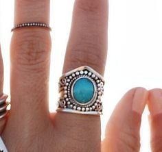 ✤ STATEMENT TURQUOISE BOHEMIAN RING ✤    Bohemia is a solid 925 Sterling Silver ring with a large natural Turquoise gemstone and hand carved designs