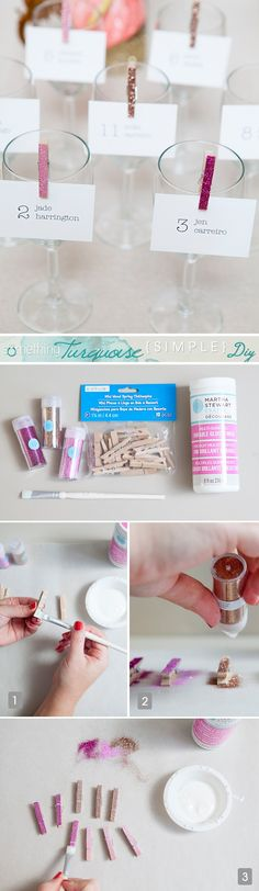 These adorable DIY glitter clothespins are the perfect touch to escort/seating cards for many different events ~ learn how to make them!