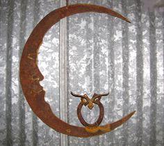 Rusty Metal Owl on Moon/ Recycled Garden Art/ by GeminiDragonfly, $78.00