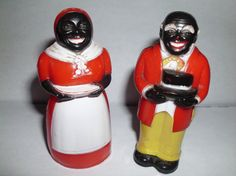 Aunt Jemima and Uncle Mose salt and pepper shakers made of hard plastic.