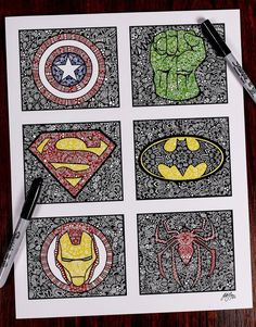 This is a photo of a hand made superhero zentangle, great for the ones who love these superheros! The print will be avaible in three sizes, 5x7