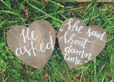 Engagement + Wedding Wood Signs - Set of 2 // Hand Lettered by Home Brewed + Co. | Engagement Photo | Photo Prop | Engagement Announcement | Wedding Decor | He asked | She said yes | I said yes | She said about damn time | Custom engagement | Mr and Mrs
