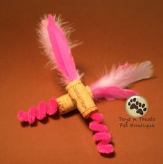 Natural Upcycled Pink Feather Cork Cat Toy Set by TnTPetBoutique