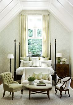 Guest bedroom in Sandy Springs. By Phoebe Howard. for pillow arrangement