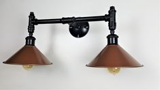 Vanity Light with 2 copper shades-Hammered Copper Finish Pipe Lighting, Copper Lighting, Custom Lighting, Vanity Lighting, Wall Sconce Lighting, Rustic Bathroom Lighting, Industrial Wall Lights, Bathroom Wall Lights, Vanity Light Fixtures