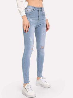 Womens Slim Fit Shredded Ripped Leg Jeans Denim Frayed Holes Laddered