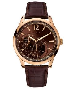 GUESS Watch, Men's Brown Leather Strap 45mm U10627G1 - Guess - Jewelry & Watches - Macy's