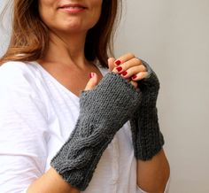 Slate Gray Grey Warm Cable Knitted Fingerless by warmandsoft, $28.00
