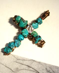 Small Wire Wrapped Cross Pendant  Copper Wire by DaleBCraft, $19.00