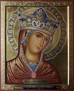 Икона Пресвятой Богородицы Андрониковская, украшенная цветной эмалью и жемчугами