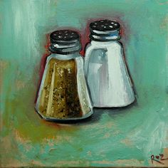 Salt and Pepper painting 40 12x12 inch original oil painting still life by Roz