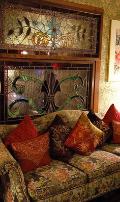"""Love this decor! """"Oscar Wilde's living room"""" Treasures piled high, Ornate Living room in Mill Rose Inn, Half Moon Bay, California, USA-- Stained Glass Art, Stained Glass Windows, Mosaic Glass, Home Interior, Interior And Exterior, Interior Design, Interior Windows, Design Interiors, Home Design"""