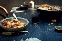 Creamy, cheesy chilli tomato rigatoni with  salami, chestnut mushrooms from What Katie Ate