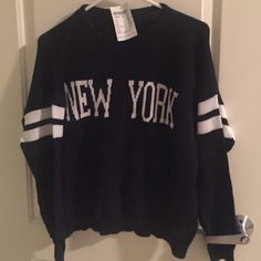 Selling this New York Navy Blue Veena Varsity sweater in my Poshmark closet! My username is: ishanigupta. USE THE CODE : PQVED TO JOIN AND GET 10$$ #shopmycloset #poshmark #fashion #shopping #style #forsale #Brandy Melville #Sweaters