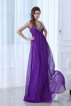 Classic Purple Chiffon Formal Dresses - Order Link: http://www.theweddingdresses.com/classic-purple-chiffon-formal-dresses-twdn2402.html - Embellishments: Beading , Crystal , Draped , ; Length: Sweep/Brush Train; Fabric: Chiffon; Waist: Empire - Price: 169.38USD