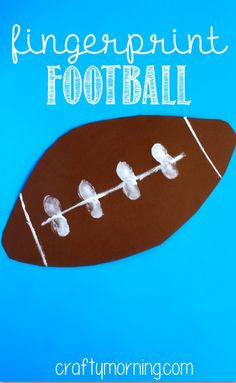 Have your kids make this easy fingerprint football craft! All you need is paint, paper, and a childs hand to use! Have your kids make this easy fingerprint football craft! Super Bowl Activities, Sports Activities For Kids, Kids Sports, Space Activities, School Sports, Toddler Activities, Classroom Crafts, Preschool Crafts, Classroom Ideas