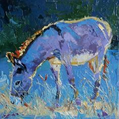 Donkey Morn - burron donkey palette knife painting -- Debbie Grayson Lincoln