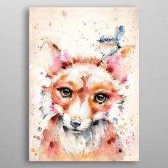 """Beautiful """"Little Fox (water colour art)"""" metal poster created by Sillier Than Sally . Our Displate metal prints will make your walls awesome. Wassily Kandinsky, Gustav Klimt, Watercolor Animals, Watercolor Art, Claude Monet, Diy Painting, Painting Frames, Alfons Mucha, Eden Design"""