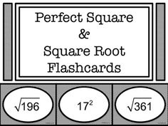 Enjoy these FREE flashcards!  Students can use them to memorize common perfect squares and square roots. The perfect squares from 1-400 are included. They also make a nice station activity.