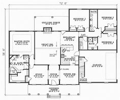 Country Style House Plans - 2493 Square Foot Home, 1 Story, 4 Bedroom and 3 3 Bath, 2 Garage Stalls by Monster House Plans - Plan 12-150