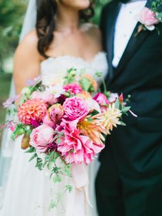White, Gold and Dahlia Wedding Inspiration. Only the prettiest and pinkest of flowers, please!