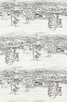 Sussex Downs Voile (222402) - Sanderson Fabrics - A spontaneous line drawing of the countryside in Sussex. It is a full width landscape depicting trees in the foreground with the rolling Sussex Downs fading into the distance. Colour way shown Charcoal. Please order a sample. Co-ordinting wallpaper is available.