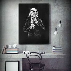 """Classy Stormtrooper Suit and Tie Star Wars PosterThis is a high quality silk screen print.Printed on 40% cotton Italian art paper.Acid free to avoid fading and it comes with matte coating.Comes unframed, the print is rolled for shipment.Paper size: 50x65cm (25-5/8""""x19-5/8"""")"""