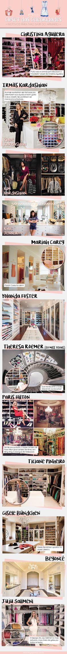 Quem aí tem curiosidade em conhecer os closets das famosas? TODAS, né! Como não ser louca por um armário cheio de peças de roupas, sapatos, bolsas e bijus?? Paaaara tudo então e bora espiar os clos…
