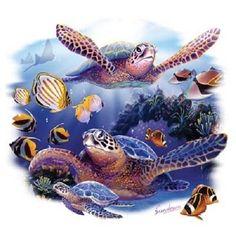 Sea Turtle & Fish Scene T Shirt Item no. by AlwaysInStitchesCo on Etsy Ocean Turtle, Sea Turtle Art, Sea Turtles, Arte Bar, Sea Turtle Pictures, Underwater Painting, Fish Wallpaper, Turtle Painting, Ocean Scenes